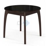 Стол №46 ДН4, (круглый) венге/стекло черное, вставка- черная