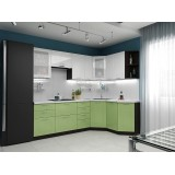 Кухня Вега-02 Белый металлик/Салатовый металлик
