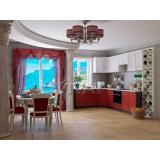 Кухня Греция 02 -Белый металлик- Гранатовый металлик