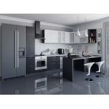 Кухня Валерия-М-05 Белый металлик/Черный металлик