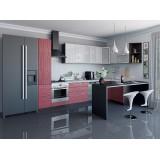 Кухня Валерия-М-05 Белый глянец страйп/Красный глянец страйп