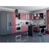 Кухня Валерия-М-05 Красный глянец страйп