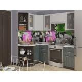Кухня Валерия-М-04 Серый металлик дождь/Черный металлик дождь
