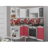 Кухня Валерия-М-04 Белый глянец страйп/Красный глянец страйп