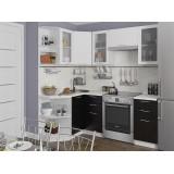 Кухня Валерия-М-04 Белый металлик/Черный металлик
