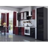 Кухня Валерия-М-03 Бордовый глянец/Черный металлик
