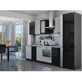 Кухня Валерия-М-03 Белый металлик/Черный металлик