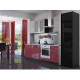 Кухня Валерия-М-03 Белый глянец страйп/Красный глянец страйп