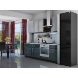 Кухня Валерия-М-03 Серый металлик дождь/Черный металлик дождь