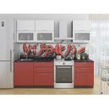 Кухня Валерия-М-01 Белый металлик/Гранатовый металлик