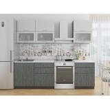 Кухня Валерия-М-01 Серый металлик дождь/Черный металлик дождь