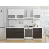 Кухня Валерия-М-01 Белый металлик/Черный металлик