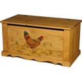 Сундук с росписью Курица с цыплятами без фона Волшебная сосна COFFRE 100 paint Poule et poussins