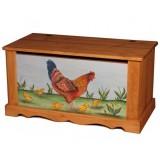 Сундук с росписью Курица с цыплятами на фоне Волшебная сосна COFFRE 100 paint Poule et poussins fond bleu